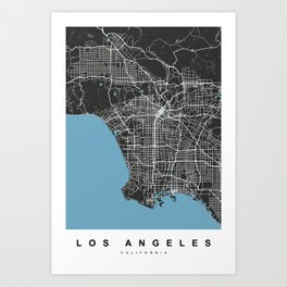 Los Angeles Map | California | United States | Black Color Art Print