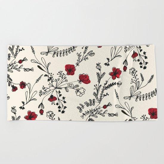 Red Flower Pattern Beach Towel