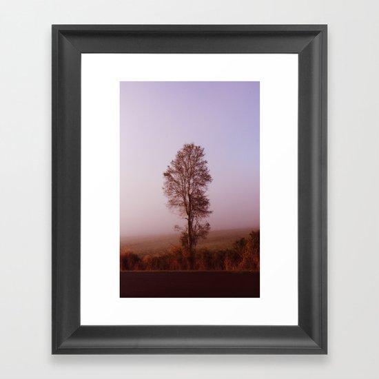 Standing alone in the fog Framed Art Print