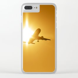 Airplane landing at sunset Clear iPhone Case