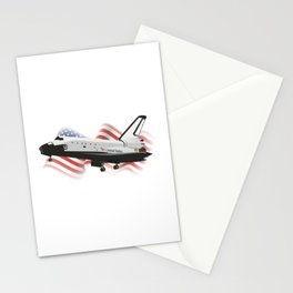 Space Shuttle with American Flag Stationery Cards