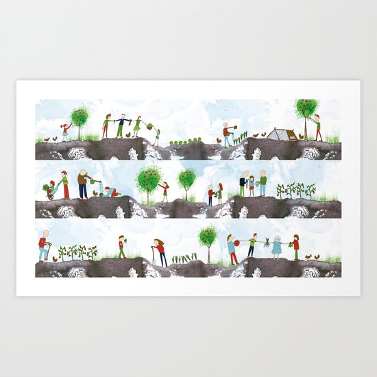 A DAY ON THE ALLOTMENT Art Print
