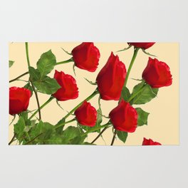SCATTERED RED LONG STEM ROSES BOTANICAL ART Rug