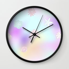 Pastel Flowers On a Rainbow Day Pink/Purple Pastel Florals Baby Nursery Girl's Room Decor Wall Clock