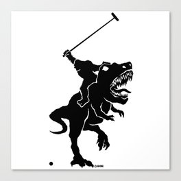Big foot playing polo on a T-rex Canvas Print