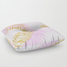 Aloha- Pink Tropical Palm Leaves and Gold Metal Foil Leaf Garden Floor Pillow
