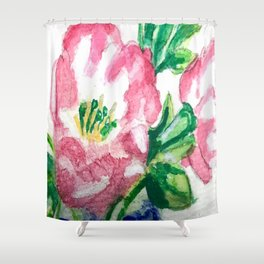 Pink Flower Watercolor Shower Curtain