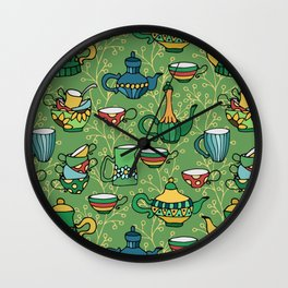 Tea green pattern Wall Clock