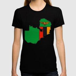 Zambia Map with Zambian Flag T-shirt