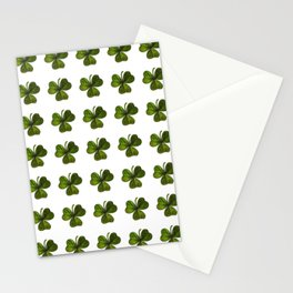 Artistic Black Outlined Shamrock Repeat Pattern Stationery Cards
