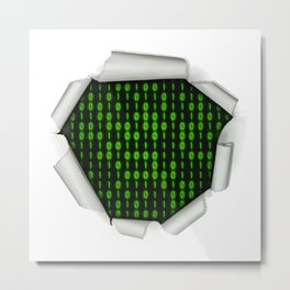Binary Code Inside Metal Print