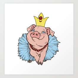 pig Princess Art Print