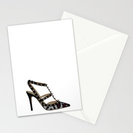 Leopard Valentino Rockstud pumps fashion illustration pink  Stationery Cards