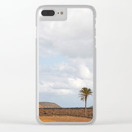 Lanzarote Palm tree landscape Clear iPhone Case