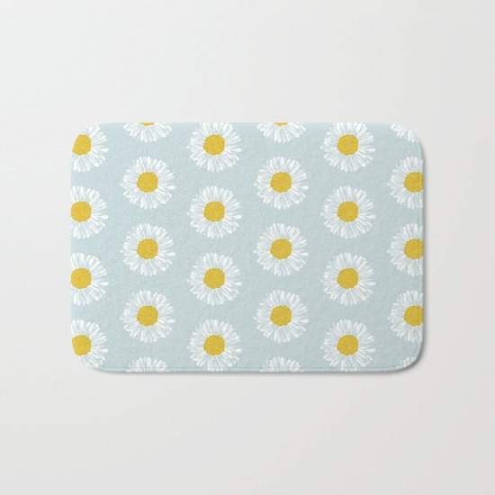 Daisy pattern basic flowers floral blossom botanical print charlotte winter Bath Mat