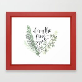 I am the true vine // watercolor bible verse john Framed Art Print