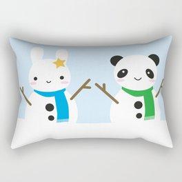 Snow Bunny & Snow Panda Rectangular Pillow