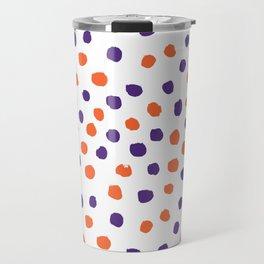 Orange and purple clemson polka dots university college alumni football fan gifts Travel Mug
