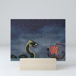Sea Serpent & Viking Longboat Mini Art Print