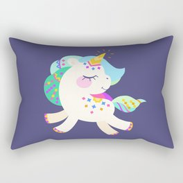 Cute unicorn with colorful mane and tail Rectangular Pillow