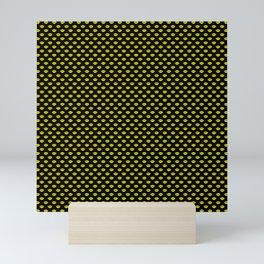 Bright Neon Yellow Lips On Black Mini Art Print