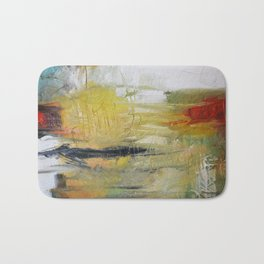 Abstract Red Green Art print from Original Painting  Bath Mat