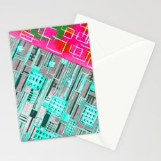 Abstract Woodcut #1 in Pink and Aqua Stationery Cards