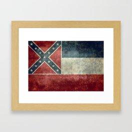 Mississippi State Flag in Distressed Grunge Framed Art Print