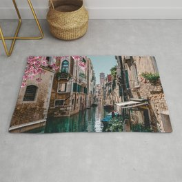 Spring Venice emerald canal with old building  Rug