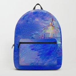 The Teapot Village - Blue Japanese Lighthouse Village Artwork Backpack