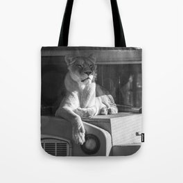 Relaxing on the bus (b&w) Tote Bag