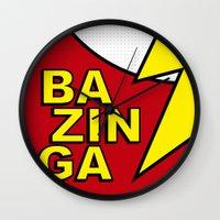 bazinga Wall Clocks featuring Bazinga by Bazingfy