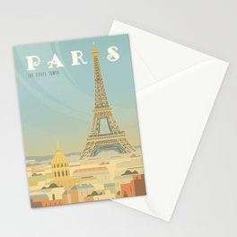 Paris France Eiffel Tower Vintage Travel Poster Commercial Air Travel Stationery Cards