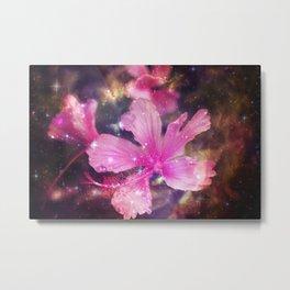 tropical galaxy flowers Metal Print