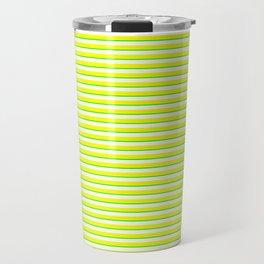 Banana and Lime Yellow and Green Stripes Travel Mug