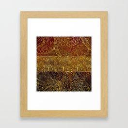 Tribal  Gold Pattern on Brown Paint Framed Art Print