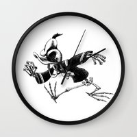 donald duck Wall Clocks featuring Donald Duck by Motohiro NEZU