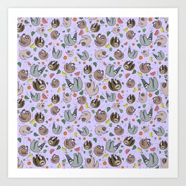 Pretty Sloth Pattern Art Print