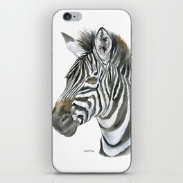 Zebra Watercolor Painting - African Animal Painting Wildlife Head Bust iPhone Skin