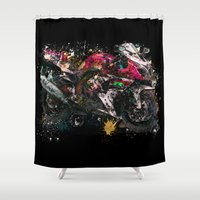 motorcycle Shower Curtains featuring Motorcycle by ron ashkenazi
