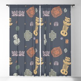 Inca Pattern - Dark Blackout Curtain