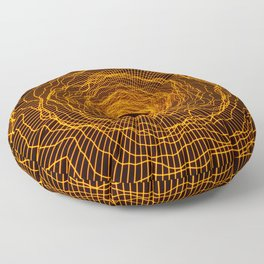 Black hole 2 -futuristic space- Neon Amber Orange Floor Pillow