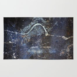 Abstract painting on rusty metal Rug