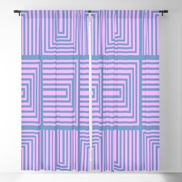 Lines in Pink and Blue 106 Blackout Curtain