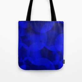 Abstract soap of ultramarine molecules and transparent bubbles on a deep blue background. Tote Bag