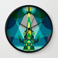 crocodile Wall Clocks featuring Crocodile by youareconstance