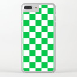 Checkered - White and Dark Pastel Green Clear iPhone Case