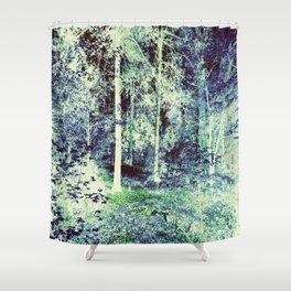 Dream Forest Teal Blue Green Shower Curtain