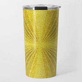 Geometric gold glitter mosaic, diagonal sun rays, gold abstract sparkles Travel Mug