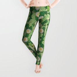 Cacti Pattern, Green and White Leggings